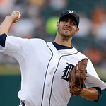 Detroit Tigers starting pitcher Rick Porcello to a Cleveland Indians batter during the first inning of a baseball game in Detroit, Tuesday, Sept. 4, 2012. (AP Photo/Paul Sancya)