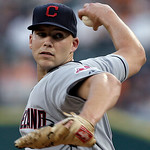 Cleveland Indians starting pitcher Justin Masterson throws to a Detroit Tigers batter during the first inning of a baseball game in Detroit, Tuesday, Sept. 4, 2012. (AP Photo/Paul Sancya)