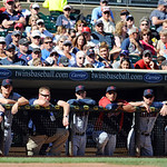 The Cleveland Indians watch the final inning of their game against the Minnesota Twins in Minneapolis, Sunday, Sept. 9, 2012. (AP Photo/Craig Lassig)