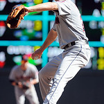 Cleveland Indians pitcher Corey Kluber throws against the Minnesota Twins in the third inning of their baseball game in Minneapolis, Sunday, Sept. 9, 2012. (AP Photo/Craig Lassig)