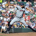 Cleveland Indians pitcher Chris Seddon throws against the Minnesota Twins during their baseball game in Minneapolis, Sunday, Sept. 9, 2012. (AP Photo/Craig Lassig)