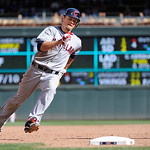 Cleveland Indians  shortstop Brent Lillibridge rounds third base during their baseball game against the Minnesota Twins in Minneapolis, Sunday, Sept. 9, 2012. (AP Photo/Craig Lassig)