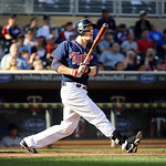 Minnesota Twins' Justin Morneau watches his walkoff home run against the Cleveland Indians in the ninth inning of a baseball game in Minneapolis, Sunday, Sept. 9, 2012. The Twins won 8-7. (A …