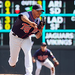 Minnesota Twins pitcher Esmerling Vasquez throws against the Cleveland Indians in the first inning of their baseball game in Minneapolis, Sunday, Sept. 9, 2012. (AP Photo/Craig Lassig)