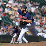 Minnesota Twins pitcher Casey Fien  throws against the Cleveland Indians during their baseball game in Minneapolis, Sunday, Sept. 9, 2012. (AP Photo/Craig Lassig)
