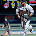 Cleveland Indians first baseman Carlos Santana against the Minnesota Twins during their baseball game in Minneapolis, Sunday, Sept. 9, 2012. (AP Photo/Craig Lassig)