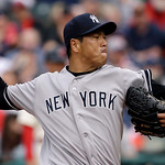 New York Yankees starting pitcher Hiroki Kuroda delivers in the first inning of a home opener baseball game against the Cleveland Indians, Monday, April 8, 2013, in Cleveland. New York won 1 …