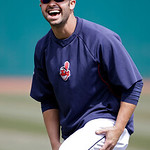 Cleveland Indians' Nick Swisher laughs during warmups before a baseball game against the New York Yankees Monday, April 8, 2013, in Cleveland. (AP Photo/Mark Duncan)