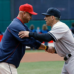Cleveland Indians manager Terry Francona, left, and New York Yankees manager Joe Girardi shake hands before a home opener baseball game, Monday, April 8, 2013, in Cleveland. (AP Photo/Mark D …