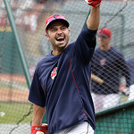 Cleveland Indians' Nick Swisher pumps his fist during batting practice before the Indians play the New York Yankees in a home opener baseball game, Monday, April 8, 2013, in Cleveland. (AP P …