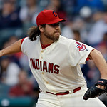 Cleveland Indians relief pitcher Chris Perez delivers against the New York Yankees in the ninth inning of a baseball game Monday, April 8, 2013, in Cleveland. (AP Photo/Mark Duncan)