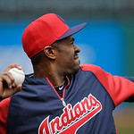 Cleveland Indians' Michael Bourn warms up before a baseball game New York Yankees Monday, April 8, 2013, in Cleveland. (AP Photo/Mark Duncan)