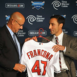 Cleveland Indians general manager Chris Antonetti, right, presents new manager Terry Francona with a baseball jersey during a news conference at Progressive Field Monday, Oct. 8, 2012 in Cle …