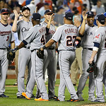 American League players congratulate each other after defeating the National League 3-0 in the MLB All-Star baseball game, on Tuesday, July 16, 2013, in New York. (AP Photo/Matt Slocum)