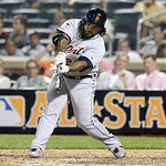 American League's Prince Fielder, of the Detroit Tigers, hits a triple during the ninth inning of the MLB All-Star baseball game, on Tuesday, July 16, 2013, in New York.  (AP Photo/Kathy W …