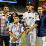 American League's Mariano Rivera, of the New York Yankees,  poses with the MVP trophy and his family after the MLB All-Star baseball game, on Tuesday, July 16, 2013, in New York. The Ameri …