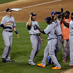 American League's Mariano Rivera, of the New York Yankees, is congratulated by American League's Torii Hunter, of the Detroit Tigers, after the MLB All-Star baseball game, on Tuesday, Ju …