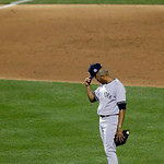 American League's Mariano Rivera, of the New York Yankees, acknowledges the crowd as he is introduced during the eighth inning of the MLB All-Star baseball game, on Tuesday, July 16, 2013, …