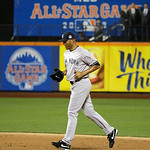 American League's Mariano Rivera, of the New York Yankees, runs out onto the field during the eighth inning of the MLB All-Star baseball game, on Tuesday, July 16, 2013, in New York.  (AP  …