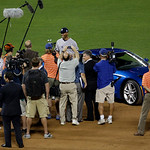 American League's Mariano Rivera, of the New York Yankees, stands by his new car after the MLB All-Star baseball game, on Tuesday, July 16, 2013, in New York. Rivera was named the game's M …