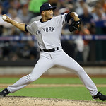 American League's Mariano Rivera, of the New York Yankees, pitches during the eighth inning of the MLB All-Star baseball game, on Tuesday, July 16, 2013, in New York. (AP Photo/Kathy Wille …