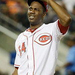 National League's Aroldis Chapman, of the Cincinnati Reds, reacts after walking American League's Nelson Cruz, of the Texas Rangers, during the seventh inning of the MLB All-Star basebal …