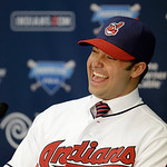 Cleveland Indians' Nick Swisher answers questions during a news conference on Thursday, Jan. 3, 2013, in Cleveland. Swisher passed his physical with the Indians on Thursday and signed the fo …