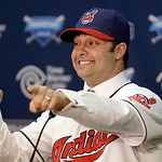 Cleveland Indians' Nick Swisher gestures as he answers questions during a baseball news conference, Thursday, Jan. 3, 2013, in Cleveland. Swisher passed his physical with the Indians on Thur …