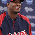 Cleveland Indians' Roberto Hernandez smiles as he answers a question during a news conference on Sunday, July 22, 2012, in Cleveland. For more than 10 years they knew him only as Fausto Carm …
