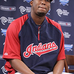 Cleveland Indians' Roberto Hernandez answers questions during a news conference on Sunday, July 22, 2012, in Cleveland. For more than 10 years they knew him only as Fausto Carmona. Now the C …