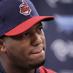 Cleveland Indians' Roberto Hernandez listens to a question during a news conference on Sunday, July 22, 2012, in Cleveland. For more than 10 years they knew him only as Fausto Carmona. Now t …