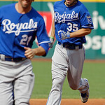 Kansas City Royals' Eric Hosmer (35) follows Jeff Francoeur around the bases after Hosmer's two-run home run in the second inning of a baseball game against the Cleveland Indians, Monday, Ma …