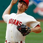 Cleveland Indians' Josh Tomlin pitches against the Kansas City Royals in the first inning of a baseball game, Monday, May 28, 2012, in Cleveland. (AP Photo/Mark Duncan)