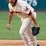 Cleveland Indians relief pitcher Chris Perez reacts after the final out in their 8-5 win over the Kansas City Royals in a baseball game, Monday, May 28, 2012, in Cleveland. (AP Photo/Mark Du …