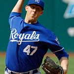 Kansas City Royals' Nate Adcock pitches against the Cleveland Indians in the first inning of a baseball game, Monday, May 28, 2012, in Cleveland. (AP Photo/Mark Duncan)