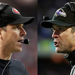 This combo image made of Sunday, Jan. 20, 2013, photos shows San Francisco 49ers head coach Jim Harbaugh, left, in Atlanta, and Baltimore Ravens head coach John Harbaugh in Foxborough, Mass. …