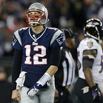 New England Patriots quarterback Tom Brady looks up at the scoreboard during the second half of the NFL football AFC Championship football game against the Baltimore Ravens in Foxborough, Ma &#8230;