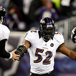 Baltimore Ravens inside linebacker Ray Lewis (52) celebrates with quarterback Joe Flacco (5) during the second half of the NFL football AFC Championship football game against the New England &#8230;