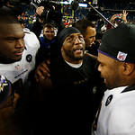 Baltimore Ravens inside linebacker Ray Lewis, center, celebrates with teammates following the NFL football AFC Championship football game against the New England Patriots in Foxborough, Mass …