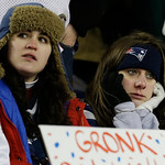 New England Patriots watch during the closing minutes of the second half of the NFL football AFC Championship football game between the New England Patriots and the Baltimore Ravens in Foxbo &#8230;