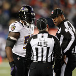 Baltimore Ravens inside linebacker Ray Lewis (52) talks with the officials during the second half of the NFL football AFC Championship football game against the New England Patriots in Foxbo …