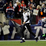 Baltimore Ravens quarterback Joe Flacco (5) celebrates his touchdown pass to Anquan Boldin during the second half of the NFL football AFC Championship football game against the New England P …