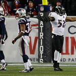 Baltimore Ravens inside linebacker Ray Lewis (52) reacts during the second half of the NFL football AFC Championship football game against the New England Patriots in Foxborough, Mass., Sund …