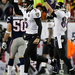 Baltimore Ravens quarterback Joe Flacco celebrates reacts following a touchdown pass to Anquan Boldin during the second half of the NFL football AFC Championship football game against the N …
