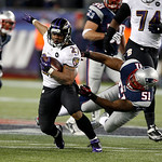 New England Patriots outside linebacker Jerod Mayo (51) fails to tackle Baltimore Ravens running back Ray Rice (27) during the second half of the NFL football AFC Championship football game …