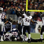 Baltimore Ravens inside linebacker Ray Lewis (52) celebrates his team&#039;s fumble recovery against the New England Patriots during the second half of the NFL football AFC Championship football  &#8230;
