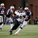 Baltimore Ravens tight end Dennis Pitta (88) runs from New England Patriots middle linebacker Brandon Spikes (55) during the second half of the NFL football AFC Championship football game in &#8230;