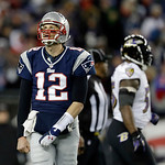 New England Patriots quarterback Tom Brady (12) reacts during the second half of the NFL football AFC Championship football game against the Baltimore Ravens in Foxborough, Mass., Sunday, Ja &#8230;
