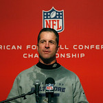 Baltimore Ravens head coach John Harbaughspeaks at a news conference after winning the NFL football AFC Championship football game against the New England Patriots in Foxborough, Mass., Sund &#8230;