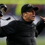 Baltimore Ravens head coach John Harbaugh reacts during the second half of the NFL football AFC Championship football game against the New England Patriots in Foxborough, Mass., Sunday, Jan. &#8230;